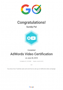 Adwords Video Certification